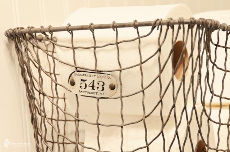 Vintage Locker Basket - Cottage - bathroom - Mustard Seed Interiors