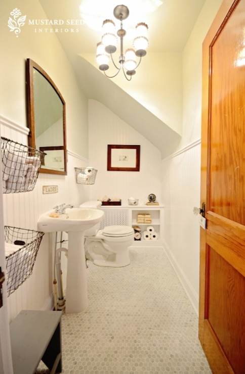 Sloped bathroom ceiling cottage bathroom benjamin moore gray owl mustard seed interiors - Mustard seed interiors ...