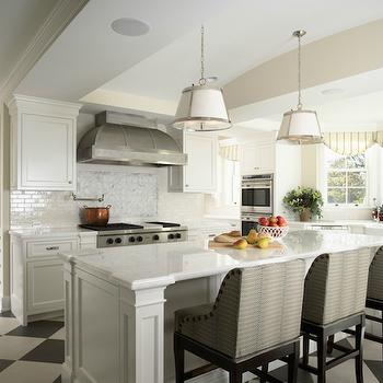 Mystery White Marble Countertops, Transitional, kitchen, Benjamin Moore Cloud White, RLH Studio