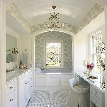 Albero Floreale Aqua Wallpaper, Traditional, bathroom, RLH Studio
