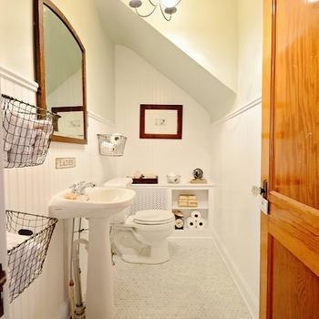 Sloped Bathroom Ceiling, Cottage, bathroom, Benjamin Moore Gray Owl, Mustard Seed Interiors