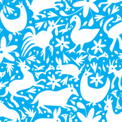 Mexico Springtime: White on Turquoise (Large Scale) fabric by sammyk for sale on Spoonflower, custom fabric