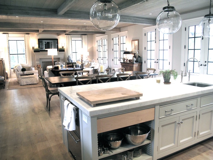 Figless Manor Beautiful Open Kitchen Design With Rustic Coffered