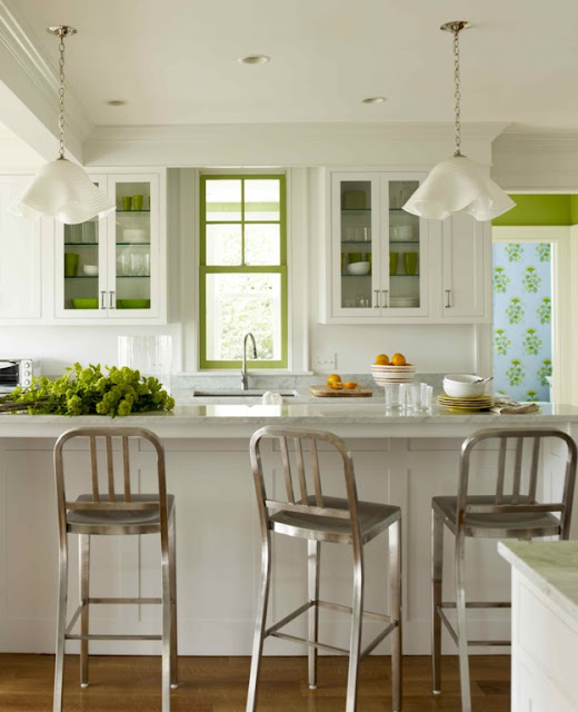 1006 navy counter stools cottage kitchen katie ridder for Green and white kitchen cabinets