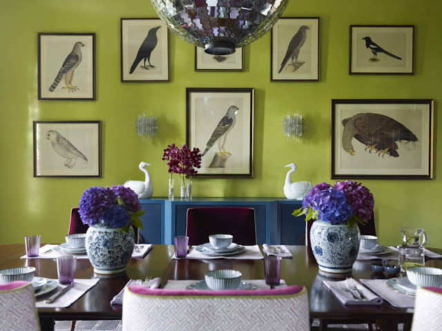Fantastic Dining Room With Lime Green Walls Paint Color Blue Buffet Avian Art Gallery Mirrored Tiles Disco Ball Pendant Light And Eggplant Velvet
