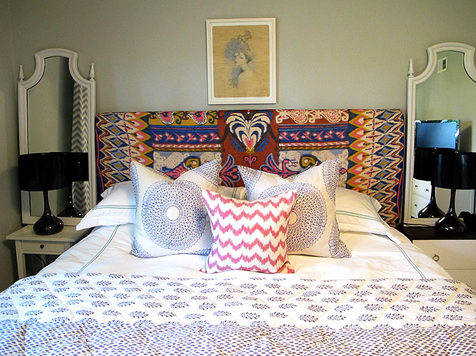 Mirrors over nightstand eclectic bedroom amber interiors for Ethnic bedroom ideas