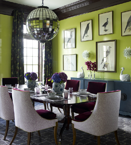 Amazing Dining Room With Lime Green Walls Paint Color Glossy Black Painted Crown Molding Blue Buffet Avian Art Gallery Mirrored Tiles Disco Ball Pendant
