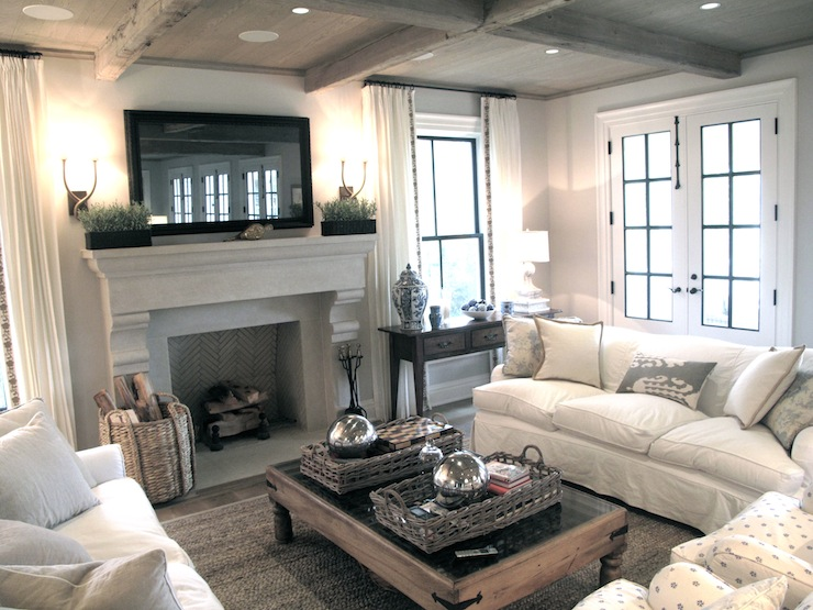 Flatscreen TV over Fireplace Transitional living room Jane Green