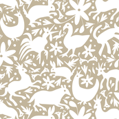 Mexico Springtime: White on Linen/ (Large Scale) fabric by sammyk for sale on Spoonflower, custom fabric