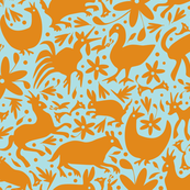 Mexico Springtime: Orange on Light Blue (Large Scale) fabric by sammyk for sale on Spoonflower, custom fabric