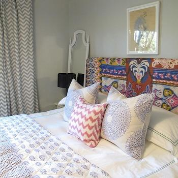 Gray Chevron Curtains, Eclectic, bedroom, Amber Interiors