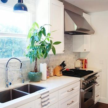 Carrara Marble Tiled Kitchen, Transitional, kitchen, Amber Interiors