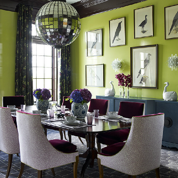 Mirrored Disco Ball Chandelier, Eclectic, dining room, Katie Ridder