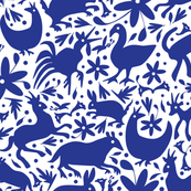 Mexico Springtime: Cobalt on White (Large Scale) fabric by sammyk for sale on Spoonflower, custom fabric