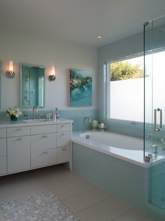 Turquoise Glass Tiles Contemporary Bathroom Shirley