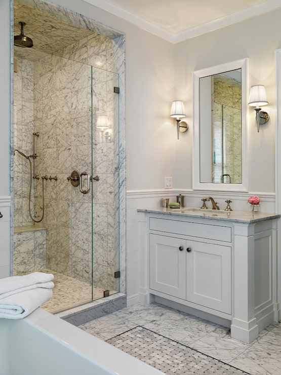 builders chic marble bathroom with pale gray walls paint color marble
