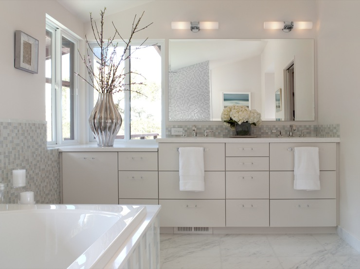 Mosaic tile backsplash contemporary bathroom shirley for Mosaic glass tile bathroom ideas