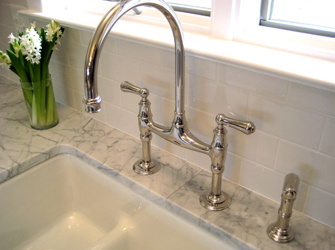 Gooseneck Bridge Faucet Traditional Kitchen Summer Thornton Design - Bridge faucets for kitchen