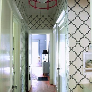Quatrefoil Wallpaper, Eclectic, entrance/foyer, AB Chao