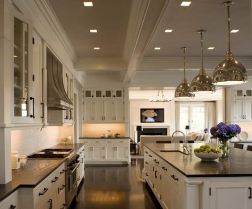 White Kitchen Cabinets with Black Countertops - Traditional ...