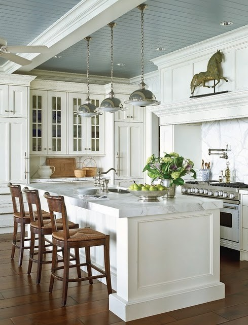 Love Painted Blue Gray Ceilings In Kitchens Blue Gray Beadboard Ceiling White Kitchen Cabinets Kitchen Island With Marble Countertops