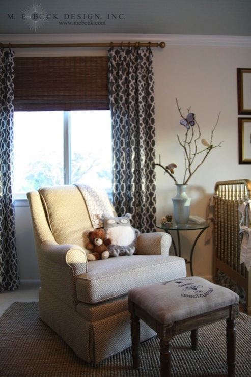Gray trellis curtains traditional nursery m e beck for Drapes over crib