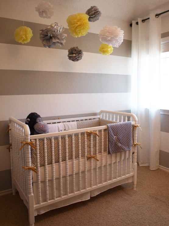 gray white striped nursery walls transitional nursery a well dressed home. Black Bedroom Furniture Sets. Home Design Ideas