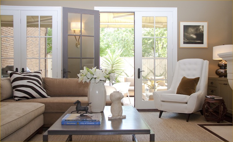 White Tufted Chair Transitional Living Room Blair