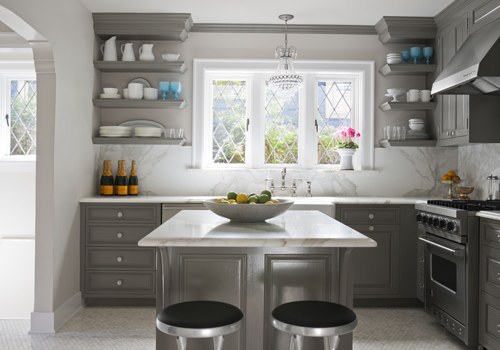 Gray kitchen cabinets contemporary kitchen glidden for Grey kitchen cabinets what colour walls
