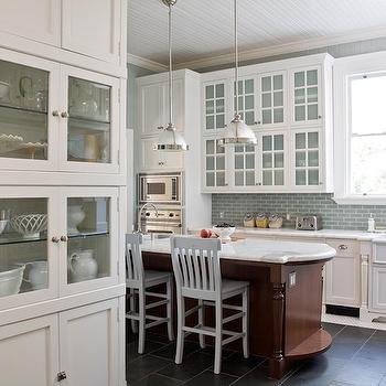 Blue Glass KItchen Backsplash, Transitional, kitchen, Artistic Designs for Living
