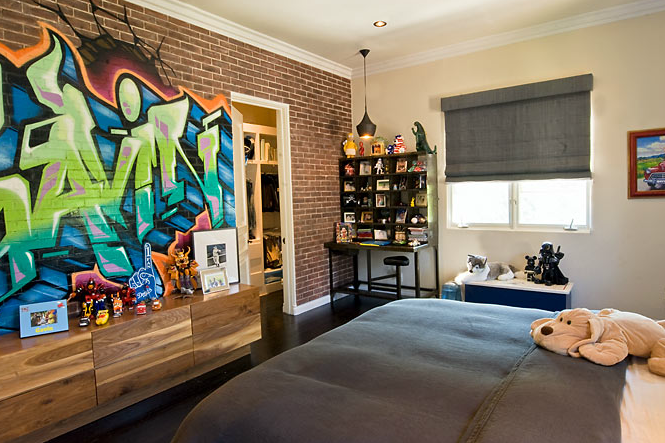Contemporary boy 39 s room estee stanley - Painting graffiti on bedroom walls ...