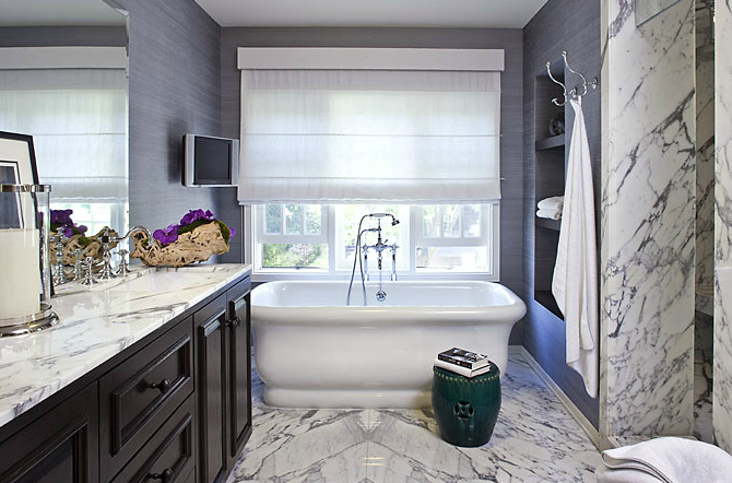 Purple grasscloth contemporary bathroom estee stanley for Grey and purple bathroom ideas