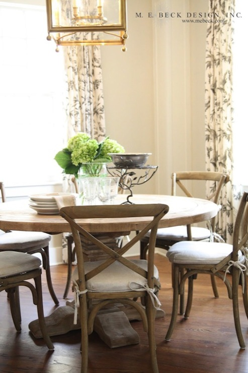 Beautiful Dining Space With Restoration Hardware Pedestal Salvaged Wood Round  Table, Restoration Hardware Madeline Side Chair   Weathered Oak Drifted  Finish ...
