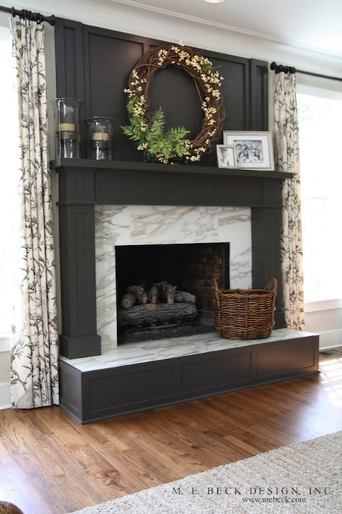 Tiled stone design with black electric fireplace for living room - Dark Gray Fireplace Mantel Design Ideas