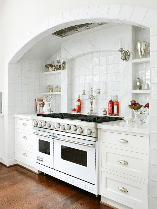 Stove alcove traditional kitchen bhg Kitchen design center stove