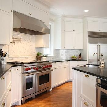 Calcutta Gold Marble Countertop Transitional Kitchen