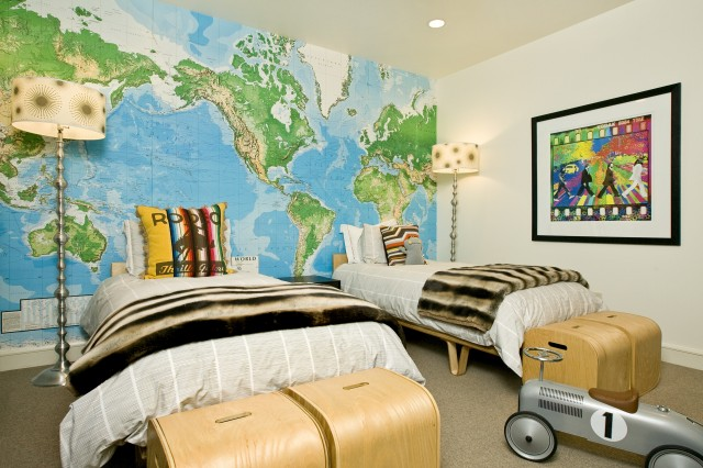 World map mural design ideas sweet boys bedroom with toys r us world map wall mural cae study bentwood twin beds silver floor lamps and faux fur floor lamps grace home design gumiabroncs Gallery