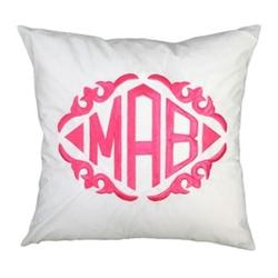 Monogrammed White Throw Pillow