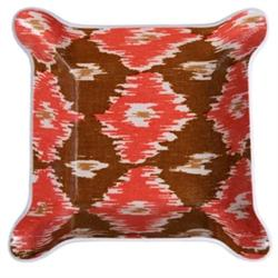 Laminated Small Brown and Red Ikat Pinched Bowl