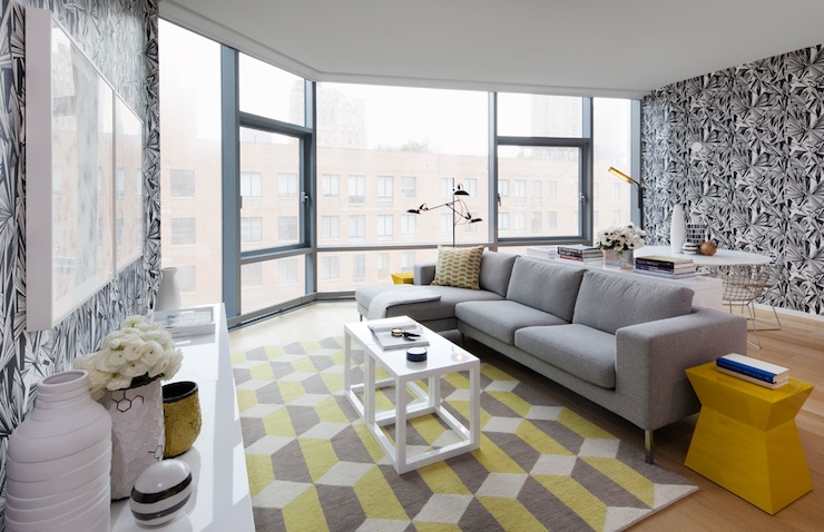 Chic Yellow Gray High Rise Living Room With White Black Wallpaper Accent Wall Sofa Chaise Lounge Geometric Rug Parsons