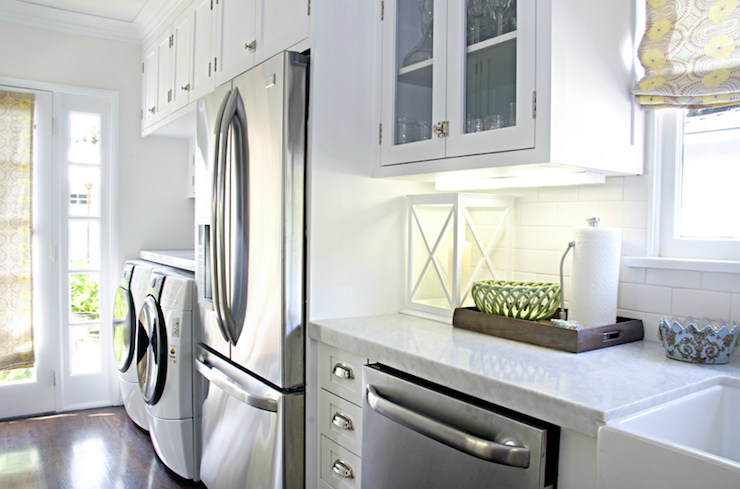 Washer And Dryer In Kitchen Transitional Kitchen