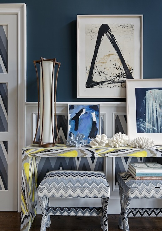 Blue Foyer Paint : Volte face wallpaper contemporary entrance foyer
