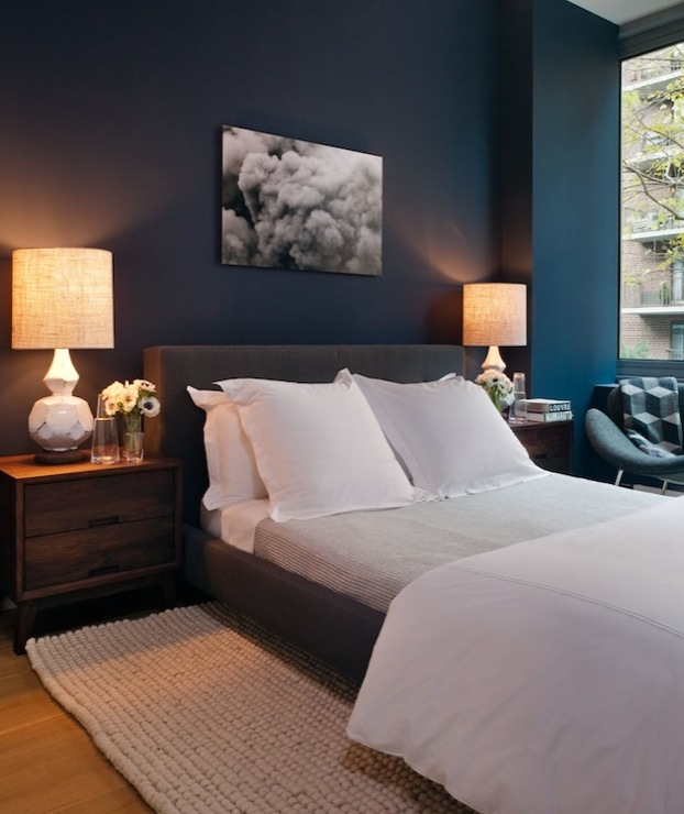 blue bedroom with peacock blue walls paint color charcoal gray modern