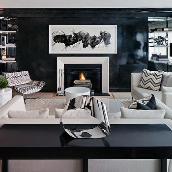 White and Black Living Room, Contemporary, living room, Haus Interior