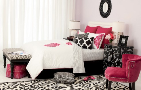 Pink, black, and white bedroom