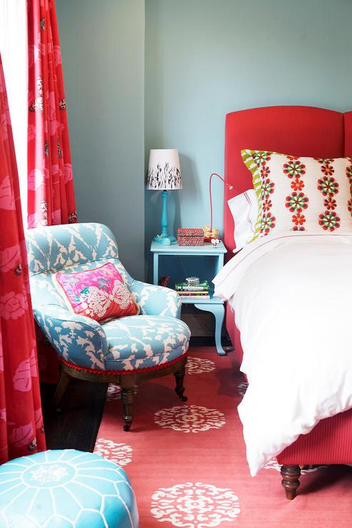 Red Turquoise Blue S Bedroom With Walls Paint Color Bed Nightstands Cusrtians Window Panels