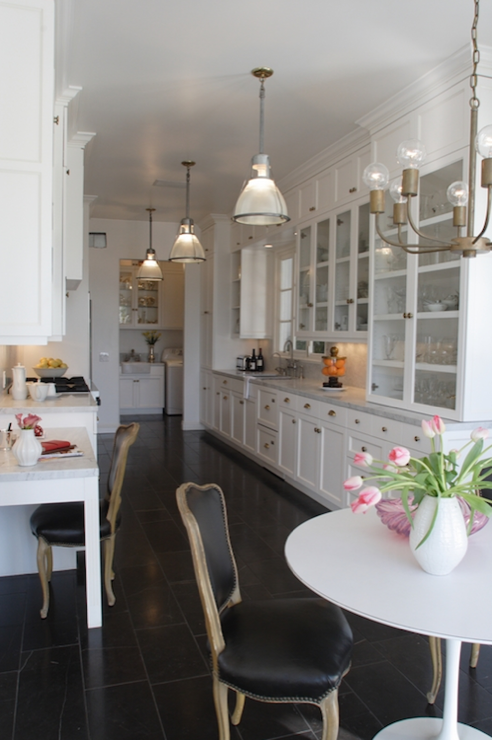 White Galley Kitchen Transitional Kitchen Benjamin Moore Soft Chamois Paul Corrie Interiors