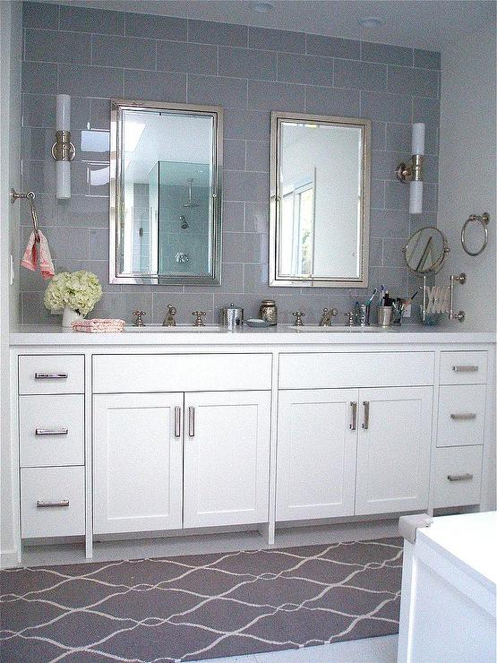Bathroom Design Grey And White Gorgeous White Gray Bathroom Design With Gray Glass Subway Tiles