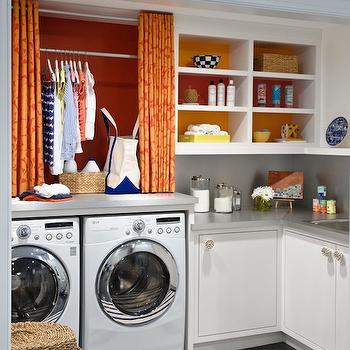 Orange Curtains, Contemporary, laundry room, Benjamin Moore Raspberry Pudding, Lucy Interior Design