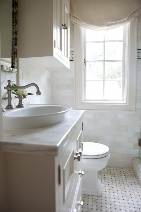Ivory Bathroom With Single Ivory Bathroom Vanity With Marble Countertops,  Oval Vessel Sink, Marble Basketweave Tiles Floor, Marble Subway Tiles  Backsplash ...